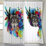 Honored Wolf White Curtains