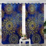 Blue Gold Mandala Curtains