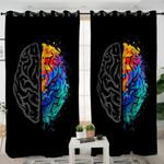Brain Contrast Black Curtains