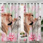 Flowers Lion Curtains