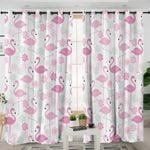 Flamingo Motif White Curtains