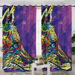 Color Glass Motif Wolf Curtains