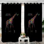 Colorful Giraffe Black Curtains