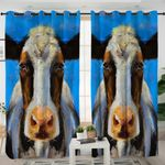 Oilpainted Cow Mugshot Curtains