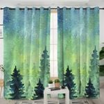 Night Sky Green Forest Themed Curtains