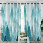 Winter In Forest Themed Curtains