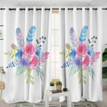 Feathers & Flower White Curtains