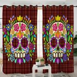 Flora Themed Skull Curtains