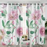 Watercolor Rose Parts White Curtains