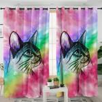 Smoky Rainbow Kitty Curtains