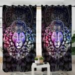 Mandala Motif Lion Head Curtains