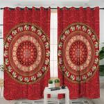 Elephants Red Mandala Curtains