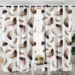 Feather Patterns White Curtains