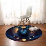Galaxy Wolf Moon Dreamcatcher Round Rug