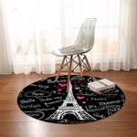 Eiffle Paris Themed Round Rug