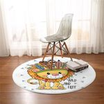 Cute Tribal Lion Round Rug