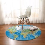 World Map Round Rug