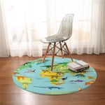 Mesozoic World Map Round Rug