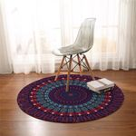 Deep Color Mandala Wheel Round Rug