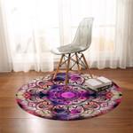 Mandala Wheel Dark Cross Round Rug
