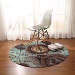3D Travel Compass Round Rug