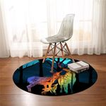 Deer Family Silhouette Round Rug