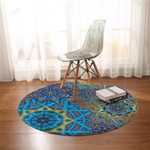Stylized Suns Teal Round Rug