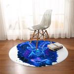 Blue Ariel Round Rug
