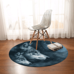 Grey Wolf And Pup Round Rug