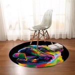 3D Multicolor Bulldog Round Rug