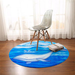 White Whale Blue Round Rug