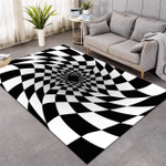 Checkerboard Swirl Optical Illusion Pattern Rug