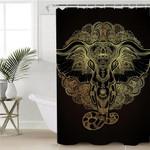 Golden Holly Elephatn Shower Curtain