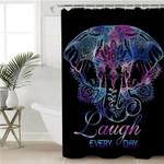 Laugh Everyday Elephant Black Shower Curtain