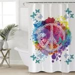 Colorful Peace Symbol Shower Curtain