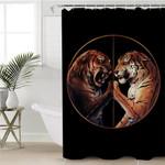 Tiger Duel Black Shower Curtain