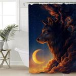 Eclipse Smoky Wolf Shower Curtain