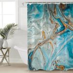 Turquoise Wtaer Golden Springkle Shower Curtain