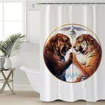 Tiger Duel White Shower Curtain