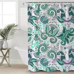 Greenn & Purple Leaves Motif Shower Curtain