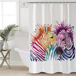 Watercolor Zebra Couple Shower Curtain