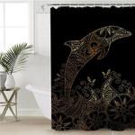 Golden Dolphin Black Shower Curtain