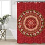 Concentric Mandala Themed Shower Curtain