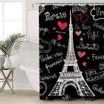 Eiffel Tower Black Shower Curtain