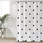 Black Triangle Pattern Tan Shower Curtain