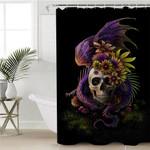 Dragon & Skull Black Shower Curtain