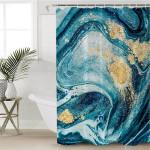 Blue Waves Gold Spray Shower Curtain