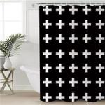 White Crosses Black Shower Curtain