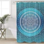 Mandala Motif Teal Shower Curtain