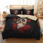 Custom Bedding Skull and Rose Bedding Set